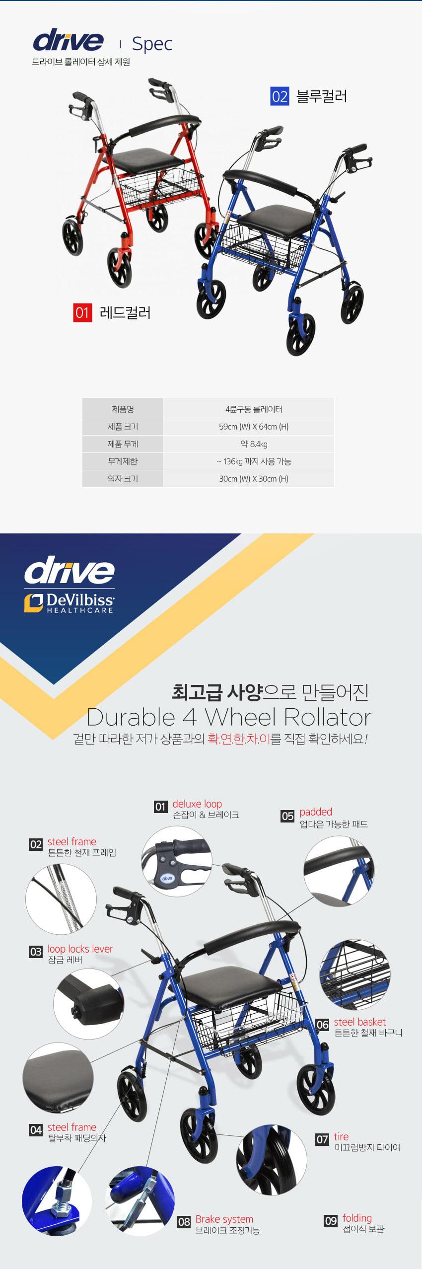 드라이브 4륜구동 듀러블 롤레이터 실버카 - 허리케인/드라이브, 236,000원, 생활잡화, 기타 잡화